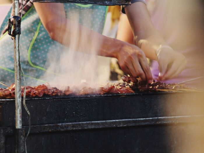 Cooking Meat Like A Locals Thai Local Food Street Food Night Market in Chiang Mai North Thailand South East Asia