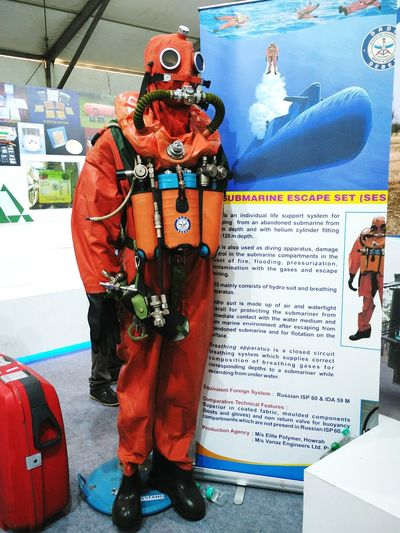 Submarine Escape Set kept for display by DRDO at Defexpo India 2016 in Goa. Defexpogoa2016 Defexpo India Defence Expo Defence Exposition Defence Forces Indian Army Submarine Escape Set Public Display DRDO Goa Goa India Defence Research And Development Organization Uniform Information Information Board