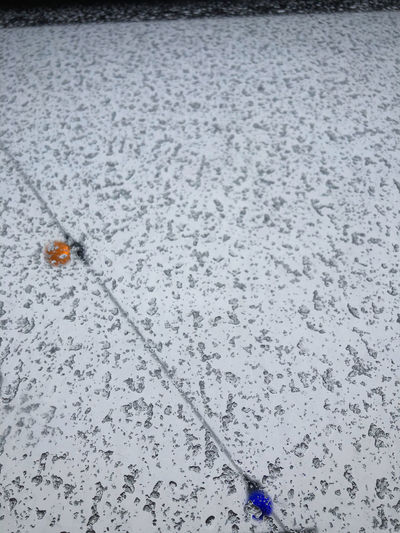 High angle view of frozen water on snow