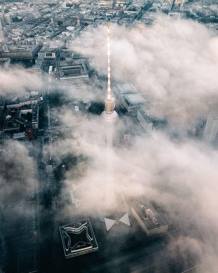 Digital composite image of buildings in city