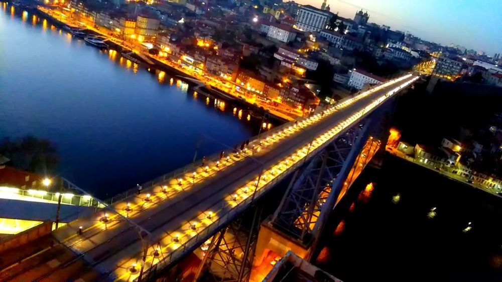 Illuminated Architecture Night Transportation Built Structure Bridge - Man Made Structure City Traffic Travel Destinations Connection Outdoors Water Sky Dluisbridge Oporto City InTheBridge Oporto, Portugal Bysunset Lamps And Lights. Cityscape Cloud - Sky City Subway Stories Citylight Oportolovers