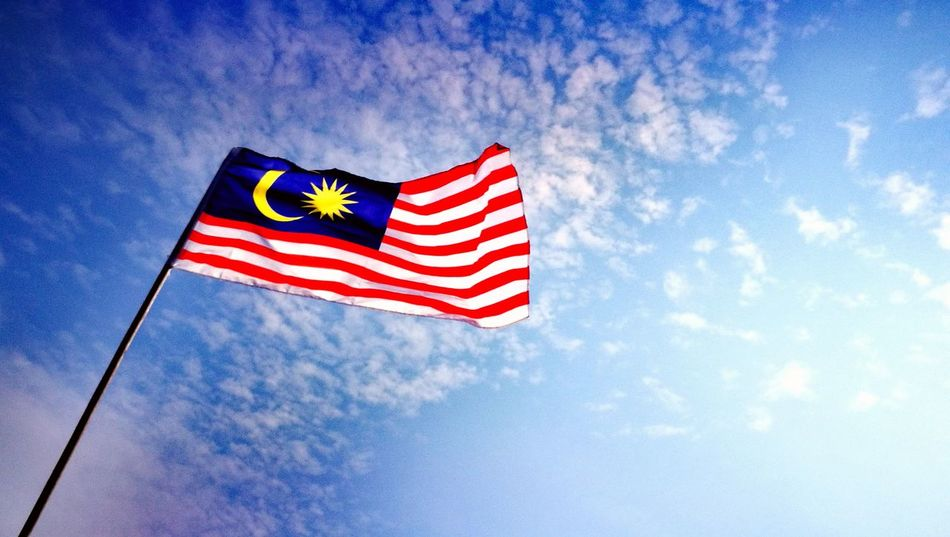 Flag Patriotism Striped Low Angle View No People Blue Day Outdoors Sky Close-up August 31 60th Merdeka Jalur Gemilang Malaysia