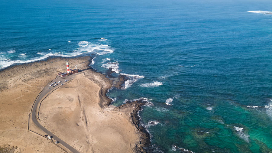 aerial view north coast of fuerteventura Sea Water High Angle View Day Beauty In Nature Nature Land Beach Transportation Scenics - Nature Full Length People Blue Motion Men Sport Real People Outdoors