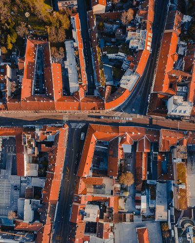 Aerial shot of the streets le zagreb, croatia
