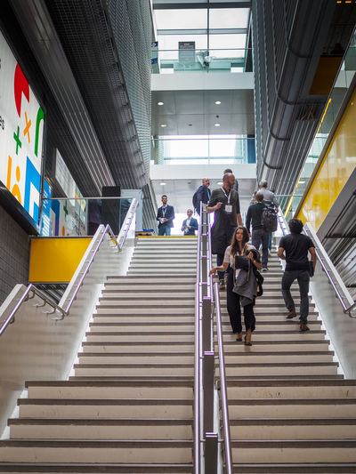 Descending the stairs at Google Cloud Next '18 in London ExCeL London Excel Google Cloud Next London '18 Architecture Steps And Staircases Staircase Built Structure Group Of People Railing Low Angle View Moving Up Direction The Way Forward People Lifestyles Men Walking Real People Women Building Exterior Adult City Transportation Outdoors Modern