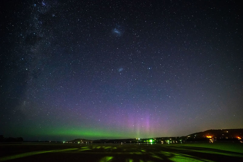 Aurora Australis and Milky Way Aurora Rays Aurora Arc Aurora Rayed Arc Aurora Rayed Band Auroral Forms And Structures Geomagnetic Disturbance Kp-index Astronomy Aurora Rays Beauty In Nature Galaxy Geomagnetic Storm Nature Night No People Outdoors Scenics - Nature Sky Solar Storm Southern Hemisphere Southern Lights Space Star - Space Tranquil Scene Tranquility
