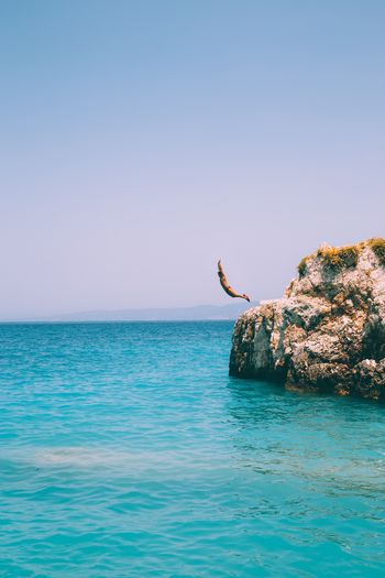 EyeEm Selects Sea Clear Sky Copy Space Water Nature Horizon Over Water Outdoors Blue Animals In The Wild Beauty In Nature One Animal Day Animal Wildlife One Person Scenics Animal Themes Sky People Only Men Jump Greece Boy