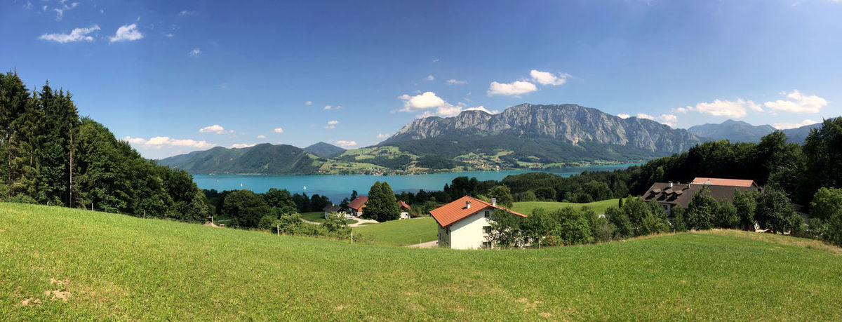 Attersee lake near Salzburg in austrian alps Alps Attersee Austria Austrian Bavaria Beauty In Nature Building Exterior Built Structure Countryside Field Forest Hiking Lake Landscape Mountain Mountain Range Panoramic Pasture Salzburg Scenics Sky Summer Tirol  Village Wolfgangsee
