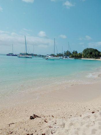 Mauritius Beauty In Nature Summer Island No Filter Nautical Vessel Sea Water Beach Sand Low Tide Water's Edge Idyllic Sky Horizon Over Water Indian Ocean Lagoon Boat