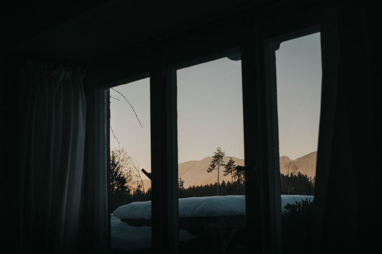 Sky Indoors  No People Curtain Nature Tree Window Mountain Clear Sky Scenics - Nature Mood Sunset Alps Winter Wintertime Staying Home