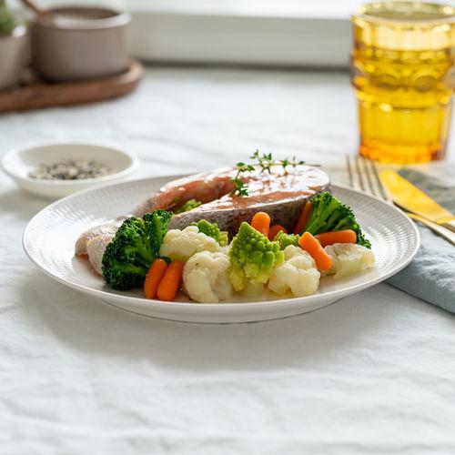 Steam salmon and vegetables, paleo, keto, fodmap, dash diet. side view. mediterranean diet