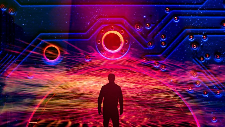 Abstract Futuristic Creative Man Man Silhouette Heat Orange Multi Colored Silhouette Light Painting Light Trail Glowing Entertainment Psychedelic