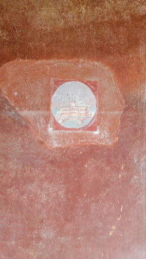 Ancient roman fresco representing a building on sea, Bay of Naples, Italy Ancient Building Castellammare Di Stabia Copy Space Day Fresco No People Outdoors Red Roman Stabiae