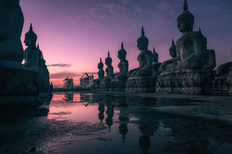Reflection Religion Ancient Spirituality Water Architecture Sunset Statue Night Travel Destinations Sky No People Outdoors