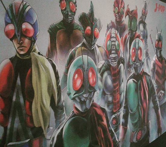 Showa Riders in My Wardrobe Poster Showa  Kamenrider Maskedrider Japan Tokusatsu Ichigo Nigo V3 X Amazon Stronger Skyrider Toei