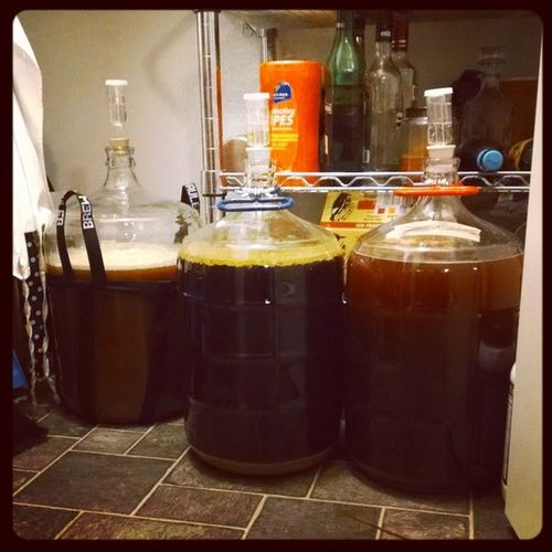 Left to right, we've got the Nugget DIPA , the Citra IPA and the Agave Wit  . Homebrew beer