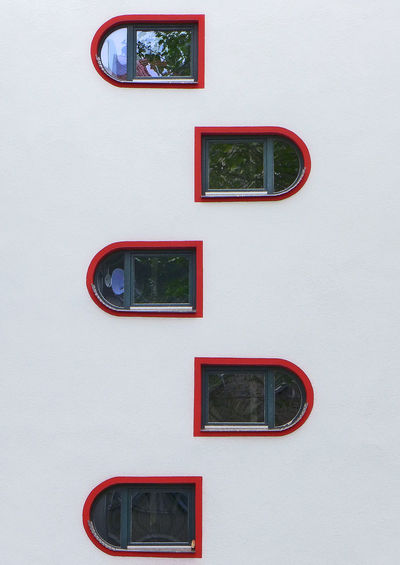Close-up Geometric Shape Modern Architecture Modern House No People Red Wall Wall - Building Feature Windows