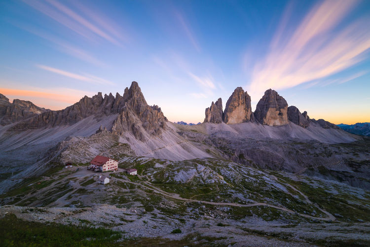 Sunset at Tre Cime di Lavaredo Beauty In Nature Blue Dolomites Dolomiti Dramatic Landscape Exposure Flow  Idyllic Italy Landscape Long Majestic Motion Mountain Mountain Range Nature Outdoors Remote Scenics Sky Tourism Tranquil Scene Tranquility Travel Destinations