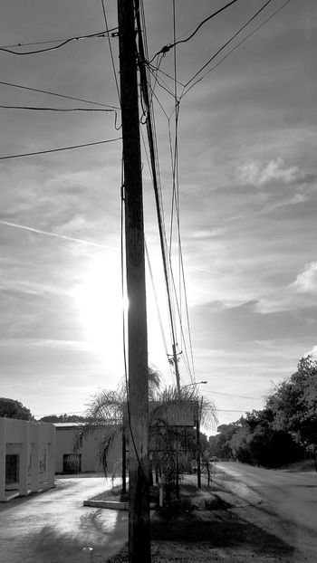 Clouds And Sky Buildings Street Utility Pole Black And White St.Croix, US Virgin Islands