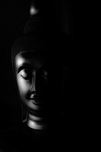 Black Background Close-up Human Representation Idol Indoors  Male Likeness No People Religion Sculpture Single Object Spirituality Statue Studio Shot Thailand Buddha Buddah Buddah Head Budda Image Budda In My Soul Buddahs In Thailand Budda Statue Budda Face