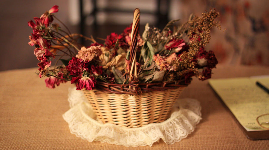 Close-Up Of Dry Flowers In Basket On Table