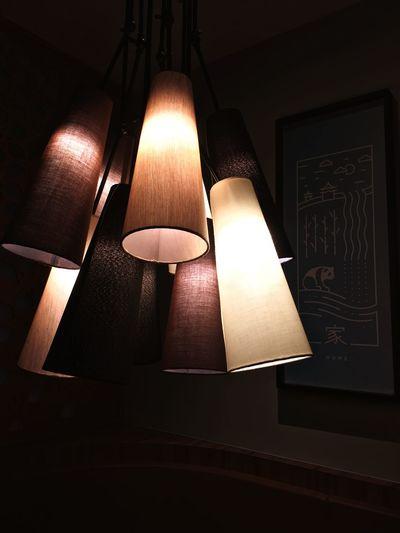 Bunch Illuminated Lighting Equipment Indoors  Hanging Lamp Shade  Lumence Lights Close-up Restaurant City Cityscape