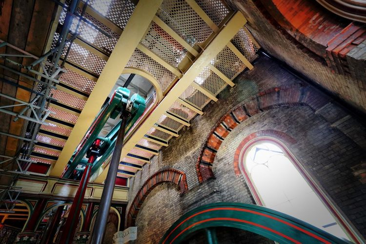 Crossness Pumping Station Architecture Built Structure Indoors  Low Angle View Staircase Railing Arch