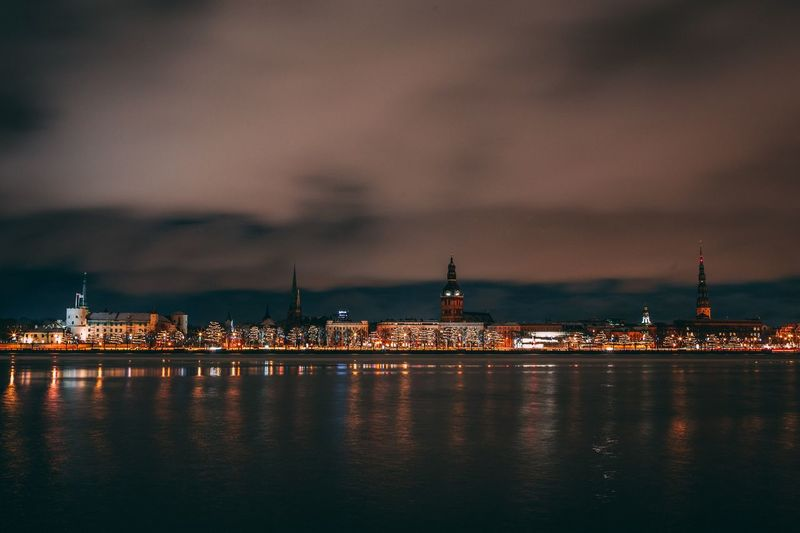 Riga cityscape Night Sky Architecture Built Structure Building Exterior Illuminated Shades Of Winter City Cloud - Sky Water Cityscape Outdoors