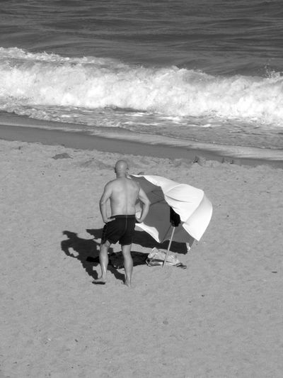 A Bird's Eye View Beach Beach Photography Beauty In Nature Black & White Black And White Coastline Day Horizon Over Water Idyllic Nature No People Ocean Outdoors Scenics Sea Shore Tranquil Scene Tranquility Umbrela Vacations Water Wave Wind