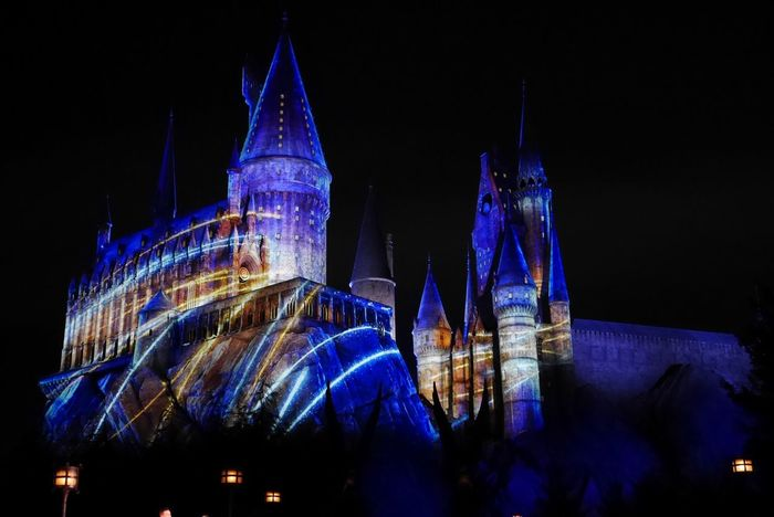 Projection Mapping Castle Night Illuminated Architecture Place Of Worship Building Exterior Built Structure Blue No People Low Angle View