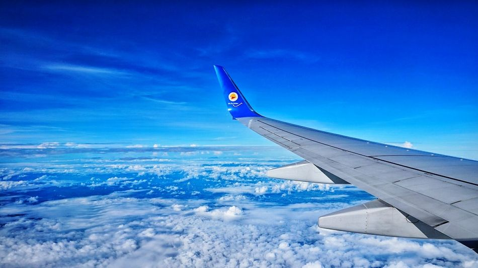""" Blue sky by Nok Air "" Flying Transportation Aircraft Wing Airplane Blue Sky Journey Cloud - Sky Sky_scapes Skyblue Sky Air Vehicle"