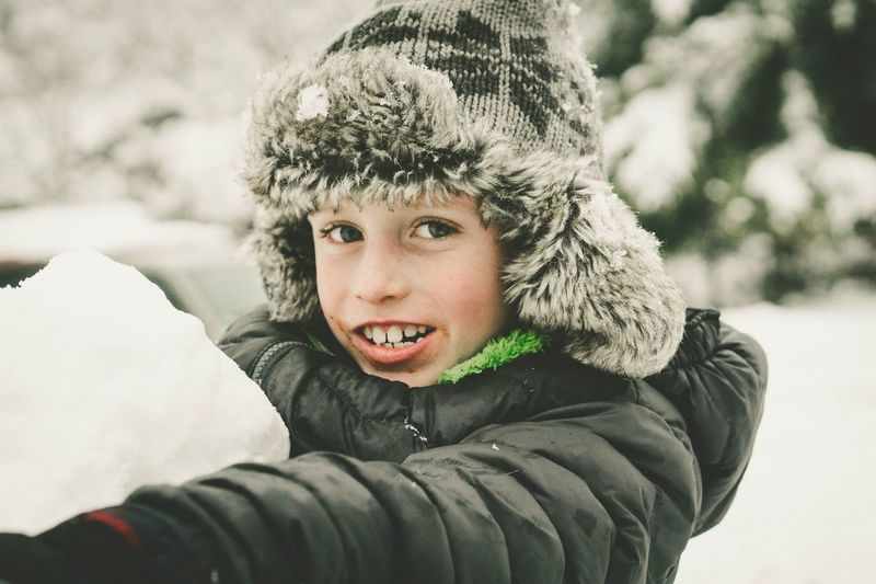 Warm Clothing Child Portrait Snow Childhood Cold Temperature Snowflake Winter Males  Boys