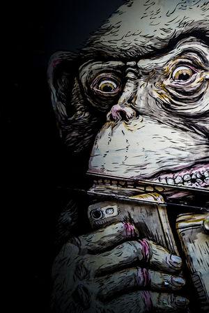 Graffiti Looking Down Close-up Monkey Portrait Smartphone Streetart