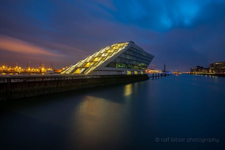 Dockland Water Reflection Illuminated Architecture Built Structure River Sky Blue Travel Destinations Cloud - Sky Tourism Germany City Night Hamburg Reflection