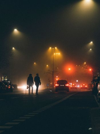The Week On EyeEm Berlin Foggy Fog Night Illuminated Car Men Street Transportation Real People Street Light Land Vehicle Two People Togetherness Sky Full Length Lifestyles People Outdoors Stories From The City