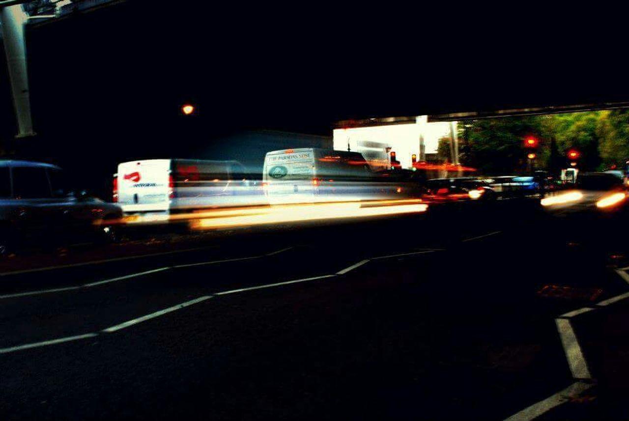 night, illuminated, transportation, blurred motion, motion, city, outdoors, no people, road, sky