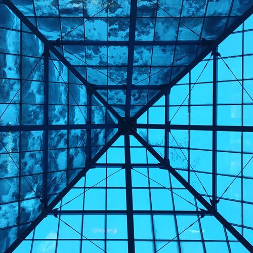 Blue Ceiling Pattern Architecture Sky No People Low Angle View Built Structure Modern Day Indoors  Glass Glass - Material Glass Roof Piramide Half Snow Square Squares Roof Rooftop