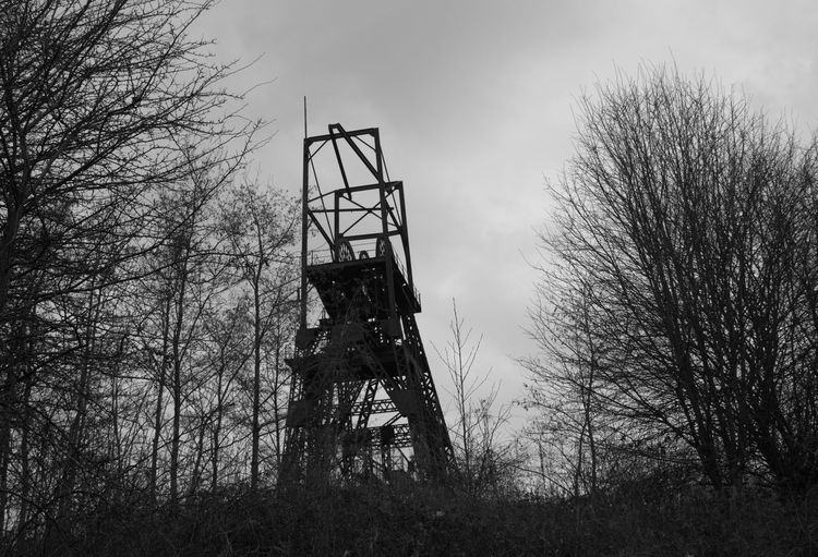 Tree Sky Silhouette Low Angle View Nature Outdoors No People Day Mine Headgear Mine Headframe History Through The Lens  History Mining Heritage Lancashire Coalfield Mining Coal Mine Industry Black And White Black And White Photography Black And White Friday