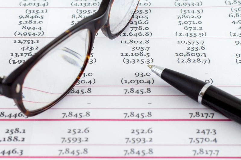 Financial Chart Numbers with Glasses and Pen Glasses Account Accounting Business Chart Close-up Day Eyeglasses  Eyesight Finance Finance And Economy Financial Figures Formula Graph Money No People Number Paper Pen Sunglasses