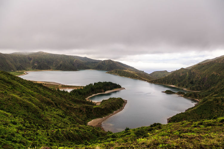 S. Miguel , Açores Azores Lagoon Of Fire Lagoa Do Fogo Cloud - Sky Water Scenics - Nature Beauty In Nature Sky Mountain Lake Tranquility No People Tranquil Scene Nature Plant Day Non-urban Scene Environment Tree Landscape Outdoors