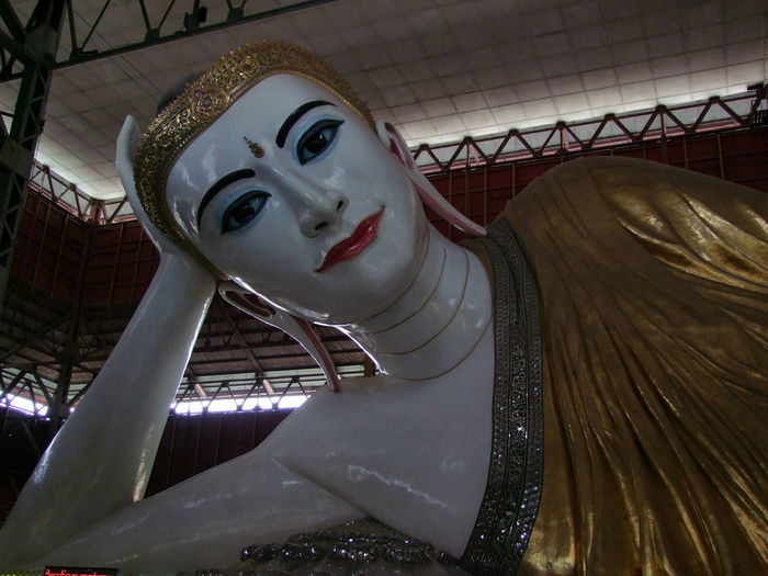 Head & Shoulders of Reclining Buddha (230ft) at Kyauk Htat Gyi Pagoda Buddha Statue Buddhism Buddhist Culture Buddhist Pagoda Buddhist Temple Composition Full Frame Head And Shoulders Human Representation Kyauk That Gyi Pagoda Looking Down Low Angle View Myanmar No People Outdoor Photography Place Of Pilgrimage Place Of Prayer Place Of Worship Reclining Buddha Religion Spirituality Tourist Attraction  Travel Destination White And Gold Coloured Yangon