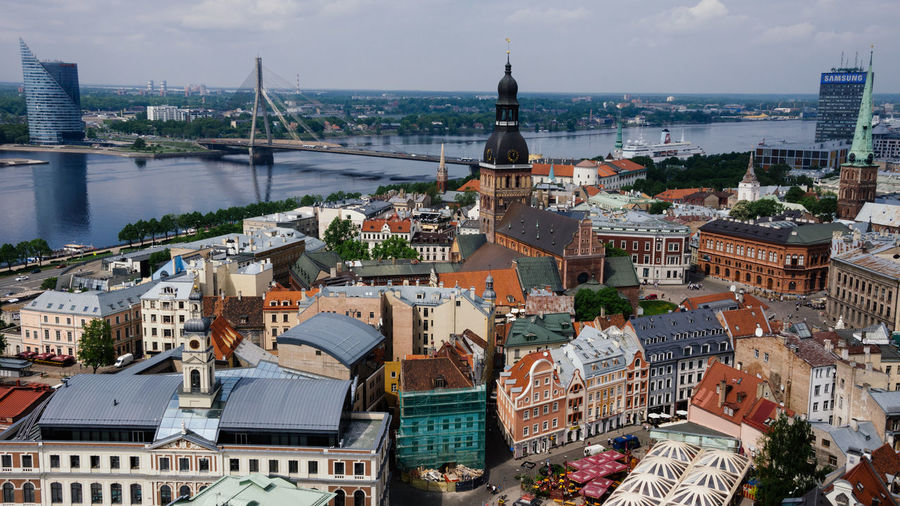 Old Riga Latvia Old Town Sightseeing Tourist Attraction  Travel Traveling Architecture Building Building Exterior Built Structure City Cityscape Europe High Angle View Outdoors Residential District Riga Roof Tourism Tourist Destination Tower Travel Destinations