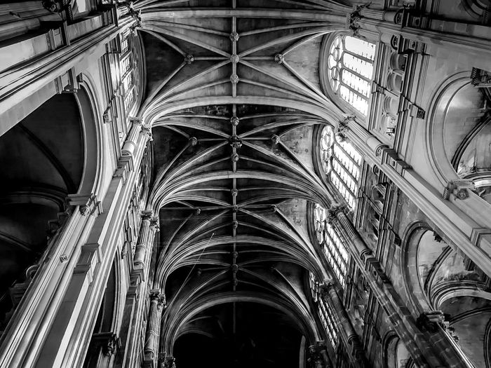 Paris cathedral Paris, France  Black And White Light And Shadow Architecture Religion Place Of Worship Spirituality Arch Built Structure Low Angle View History