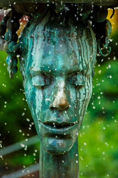 Crying fountain with termal water in Karlovy Vary, Czech Republic. Fountain Sculpture Spa Aqua Carlsbad Copper  Crying Crying Fountain Czech Republic Design Drop Drops Dropspray Face Green HEAD Hydrotherapy Karlovy Vary Old Town Rain Spatter Term Thermal Vary Water