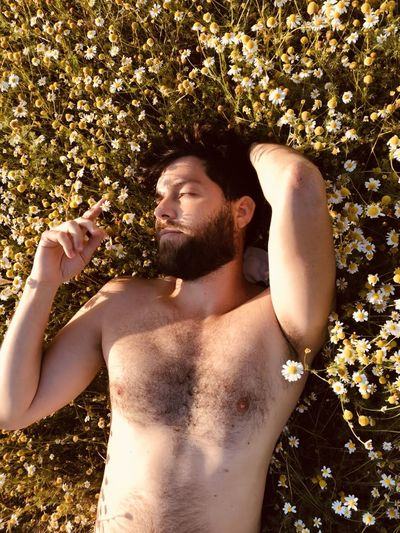 Directly above shot of shirtless man lying on plants outdoors