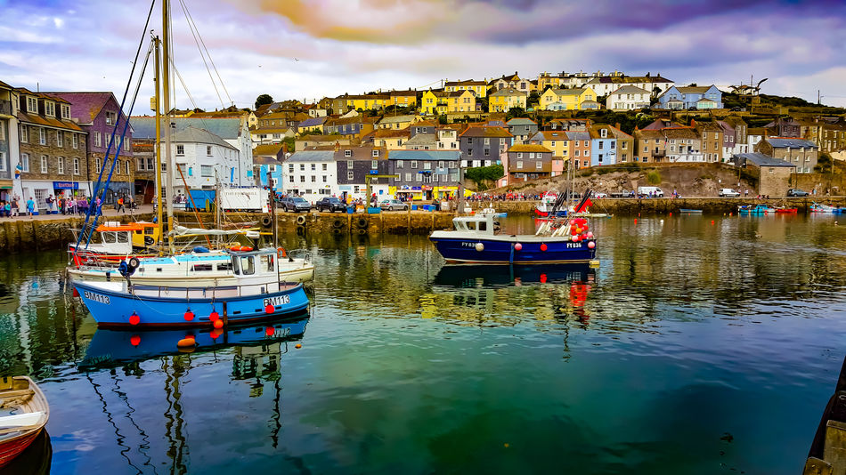 Fishing harbour Nautical Vessel Reflection Mode Of Transport Water Cloud - Sky Day Harbor Moored Sky Outdoors No People Harbour Sea Sea And Sky Houses Architecture reflection Reflections Sun Sunset Sunset_collection Cornwall Tourism Cornwall Life Cornwall Photography Fishing Boats Fishingboat