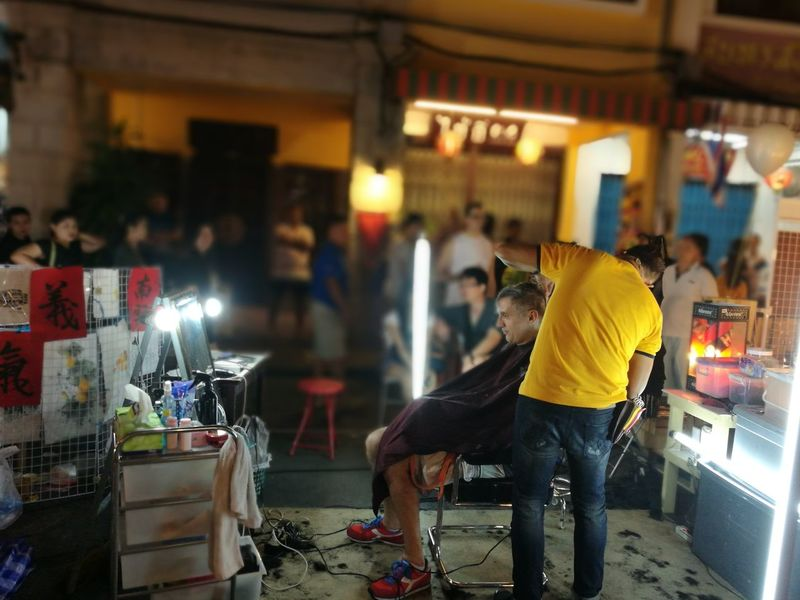Paint The Town Yellow Adult People Haircut Hairstyle Phuket Old Town Street Night Market