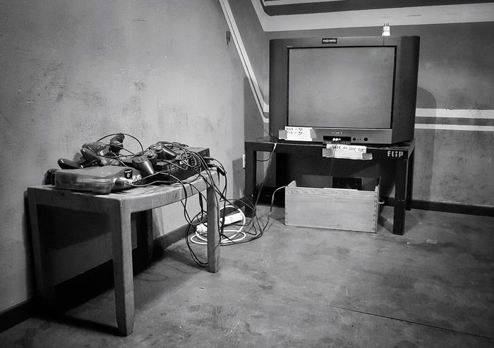 Indoors  No People Table Technology The Week On EyeEm Taking Photos Monochrome Photograhy Monochrome Black & White Photography My Point Of View Black & White First Eyeem Photo Monochrome Photography Indoors  Gaming Gaming Time Old Room  Nintendo 64 Nintendo Abandoned Blackandwhite Tv Old Tv Old TV Set Home Is Where The Art Is