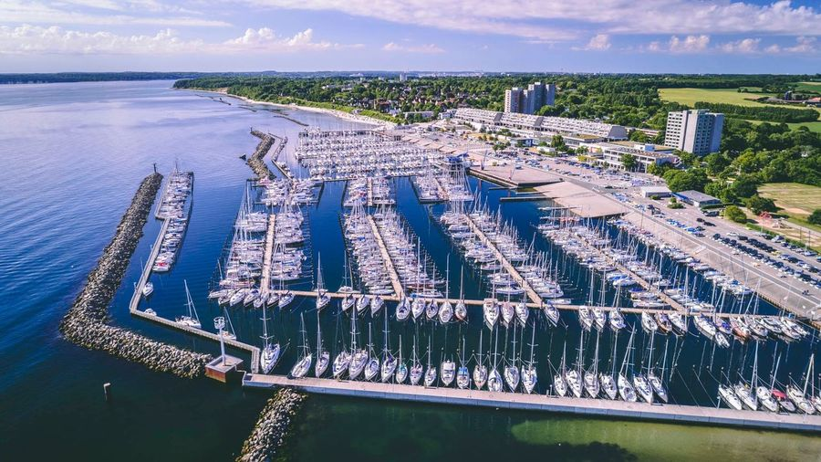 Dronephotography Sailing Sailing Ship Sailing Boat Drone Photography Kiel Harbour Harbour View Water Architecture High Angle View Nature Day Built Structure Building Exterior Aerial View Sea Outdoors Harbor Nautical Vessel