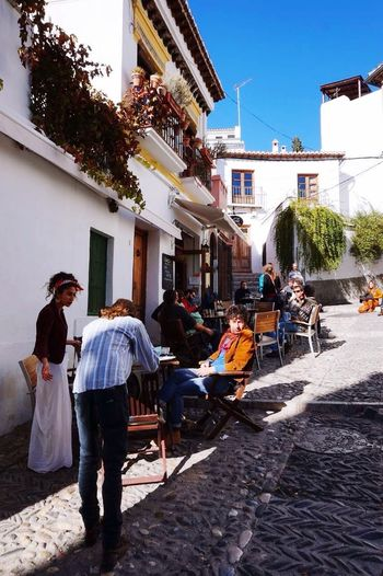 SPAIN Granada Albaicin Street Bohemian People Terrace Cafe
